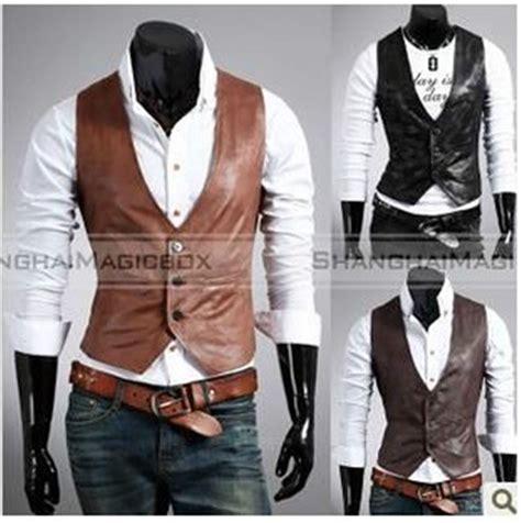 Men Fashion Faux Leather Slim Suit Vest Sleeveless Waistcoat 2 Colors MVEST022 | eBay