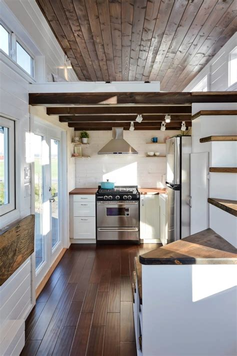 tiny living houses tiny house on wheels w big kitchen and double sink vanity