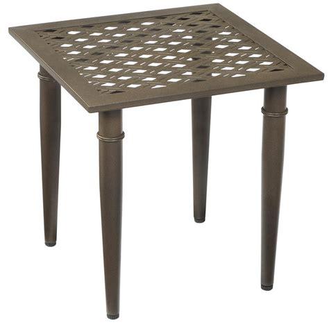 patio side table metal hton bay oak cliff metal outdoor side table 176 411