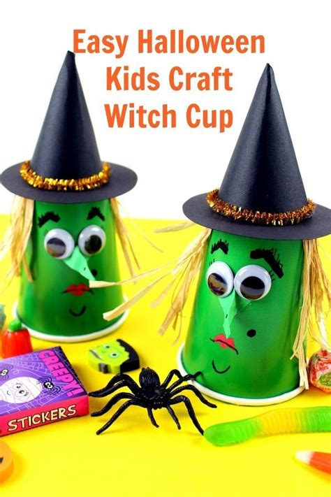 kids halloween craft witches cups