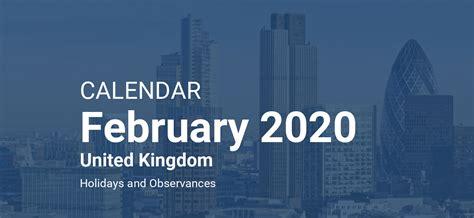 february  calendar united kingdom
