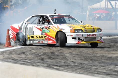 Drifting demonstrations by Formula DRIFT drivers at the ...