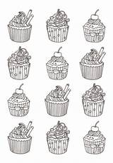 Coloring Cupcakes Cakes Cup Adults Easy Cupcake Adult Coloriage Colorare Disegni Yum Many Eat Celine Adulti Justcolor Erwachsene Coloriages Colorear sketch template