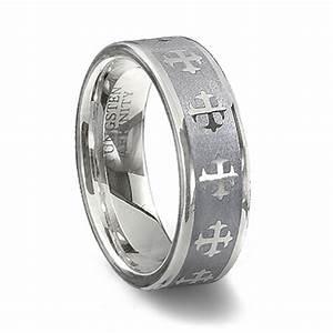 Tungsten Carbide Cross Ring Couples Cross Wedding Band