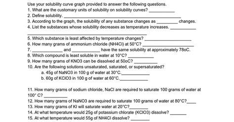 Solubility And Solubility Curves Worksheet Homeschooldressagecom
