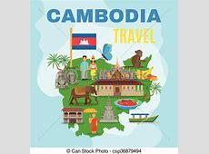 EPS Vectors of Cambodia Cultural Travel Map Flat Poster