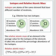 Isotopes & Relative Atomic Mass (solutions, Examples, Videos