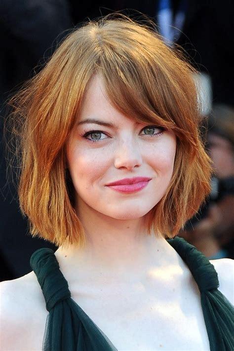 Emma Stone Straight Bob, Sideswept Bangs Hairstyle   Steal