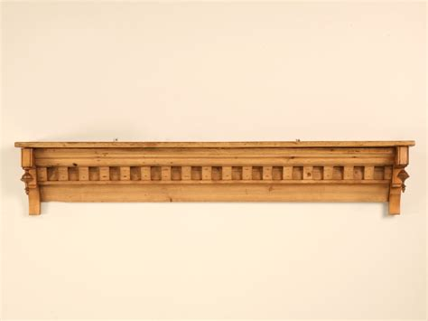 unique vintage english solid pine wall shelfmantle wfinials  stdibs