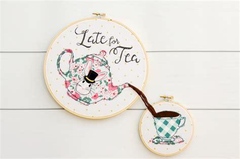 late  tea embroidery hoop art  pattern  polka