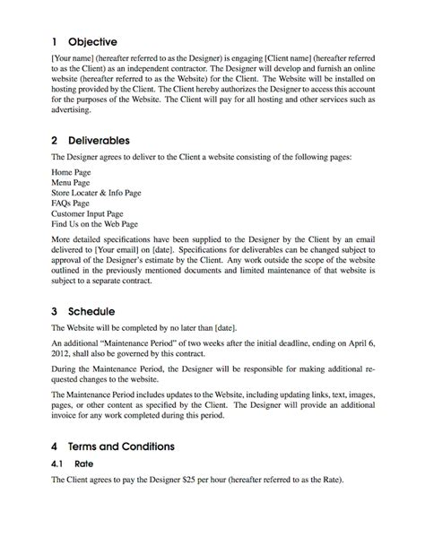 latex templates contract