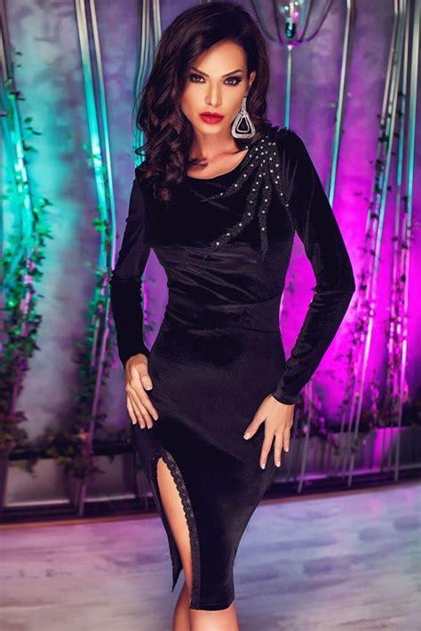Sexy Black Side Spit Midi Long Sleeve Bodycon Dress