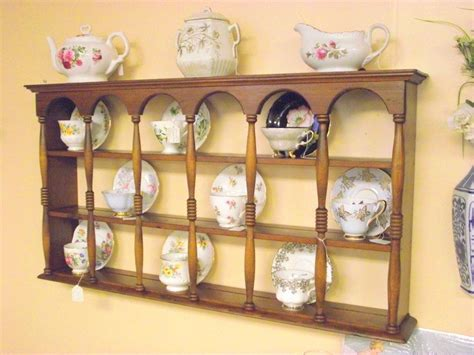 tea cup shelf wood 3 tier display teacup saucer curio wall shelf w