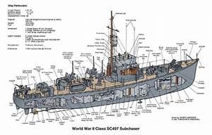 Ww2 Class Sc Subchaser Cutaway Illustration