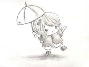 Umbrella Cute Chibi Girl Drawing