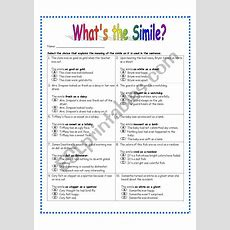 Simile Worksheet #3  Esl Worksheet By Dreidteacher