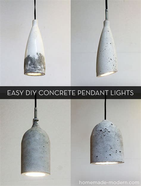 how to make easy modern diy concrete pendant lights