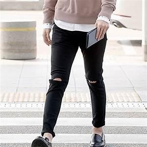 2015 Jeans man Knee Skinny Pencil Pants Slim Denim Ripped ...
