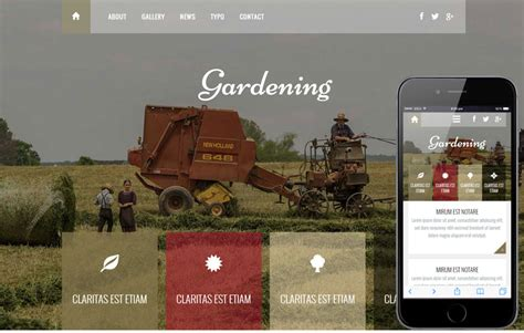 bootstrap template gardening free responsive mobile website templates designs