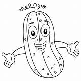 Cucumber Coloring Funny Cartoon Smiling Character Illustration Isolated Vegetable sketch template