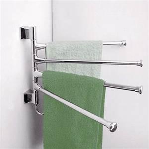 3, Lyer, Wall, Mounted, Bathroom, Towel, Rack, Swivel, Towel, Clothes, Storage, Holder, Shelf, Stainless