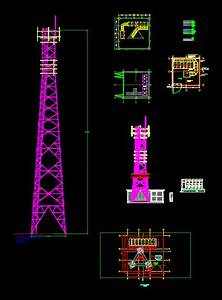 Telecommunications Self Supported Tower DWG Block for