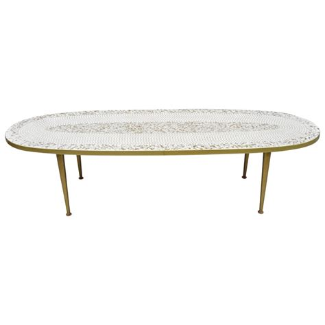 Shop allmodern for modern and contemporary coffee tables to match your style and budget. Mid-Century Modern Oval Surfboard White Gold Mosaic Tile Top Long Coffee Table For Sale at 1stdibs