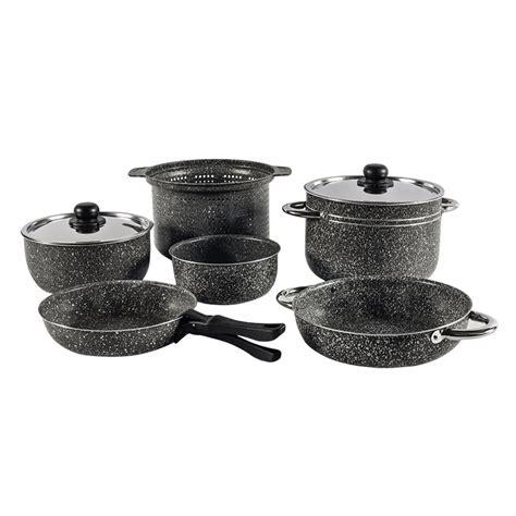 stonerock camping cookware cooking stick non 10pcs rv caravan handles aluminium src ss bag