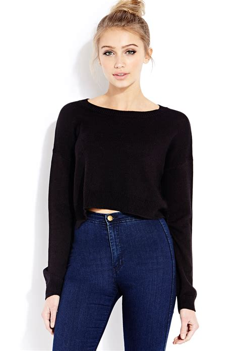 cropped black sweater forever 21 lazy day cropped sweater in black lyst