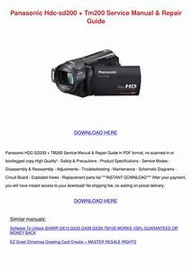 Panasonic Hdc Sd200 Tm200 Service Manual Repa By Trudie