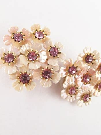 50s coro pink plastic and rhinestone flower earrings my