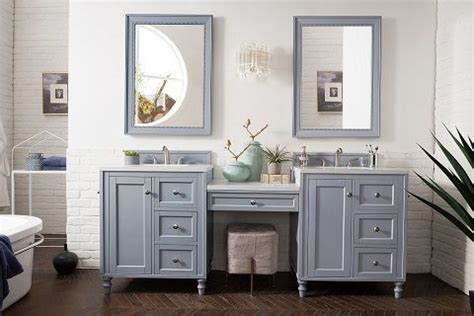 Bathroom vanity with makeup vanity attached 48 rosewood vanity. Image result for two stand alone vanities with a makeup ...