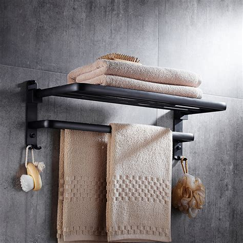 towel rack black oil rubbed bronze wall mount