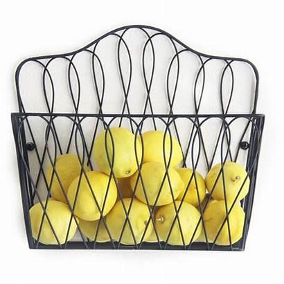 Basket Fruit Rack Vegetable Mounted Kitchen Metal