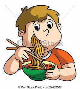 Boy Eating Noodle - Royalty Free Stock Illustration ...