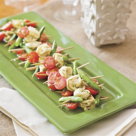 easy no cook canapes mustard dill tortellini salad skewers recipe myrecipes