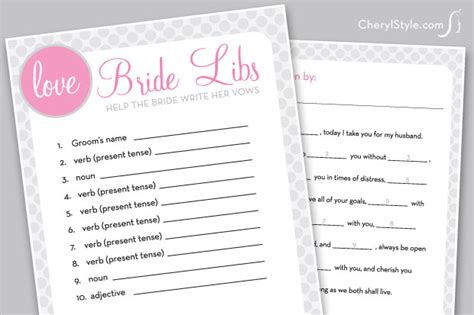 Have Fun With A Printable Bridal Libs Game!