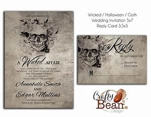 Wicked halloween horror gothic wedding invitation for Free printable gothic wedding invitations