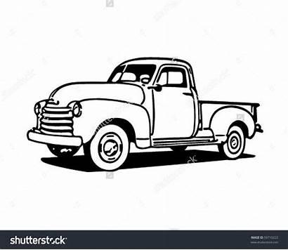 Truck Clip Pickup Clipart Vector Retro Trucks