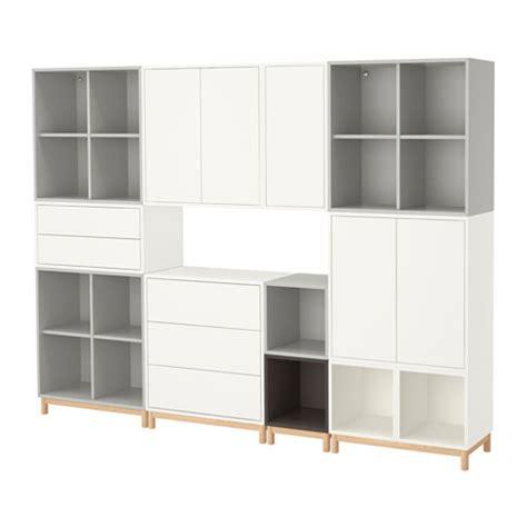 EKET Cabinet combination with legs White/light grey/dark grey 245x35x185 cm   IKEA