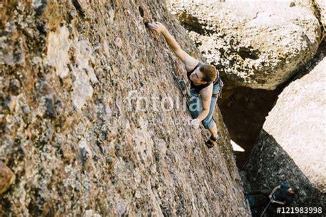 Man Rock Climbing Pinnacles National Park Stock
