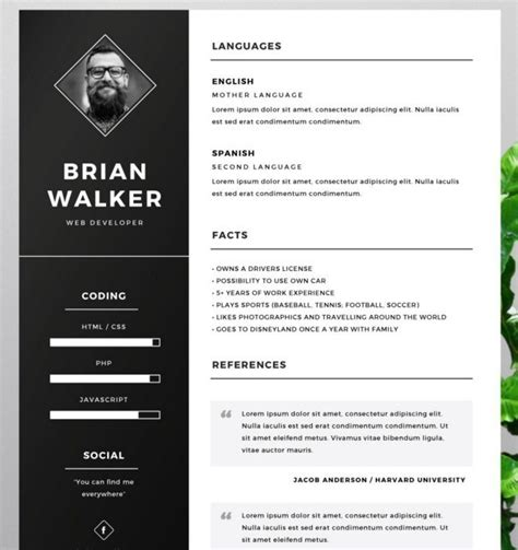 photoshop resume template 130 new fashion resume cv templates for free 365 web resources