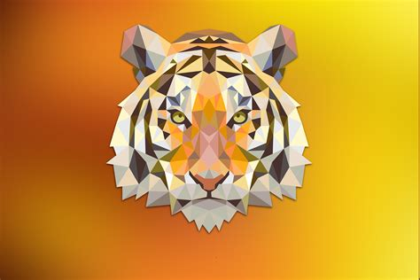 Low Poly Animal Wallpaper - tiger orange triangle digital