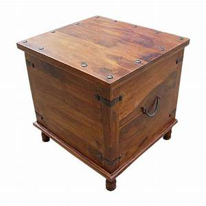Square wood with metal storage trunk box accent table for End table with storage