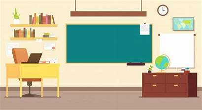 Classroom Desk Blackboard Teachers Vector Class Empty