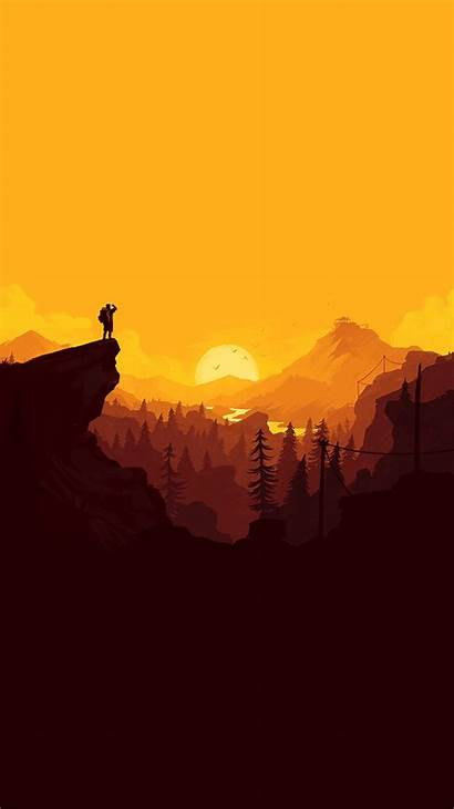 Simple Minimal Nature Sunset Illustration Iphone Wallpapers