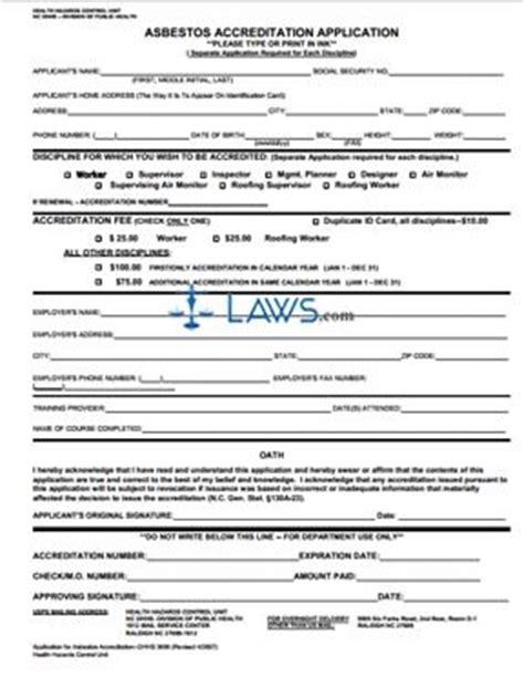 asbestos accreditation application north carolina forms