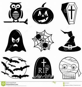 Kürbis Schwarz Weiß : halloween ikonen stellten in schwarzweiss einschlie lich eule k rbis sarg mit kreuz geist ~ Orissabook.com Haus und Dekorationen