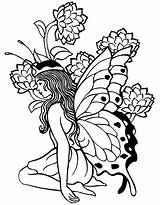 Coloring Fairy Printable Adult Adults Popular sketch template