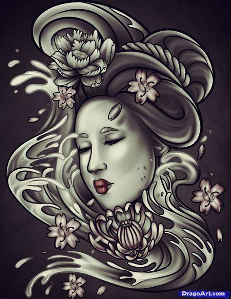 draw  geisha tattoo step  step tattoos pop